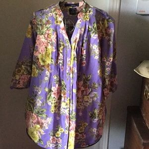 Soft Lavender With floral print blouse size 14W
